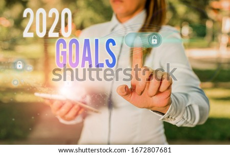 Word writing text 2020 Goals. Business concept for something that you are trying to do or achieve for this year. #1672807681