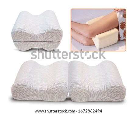 Orthopedic leg pillow, Orthopedic Pillow with Memory Effect. Comfort Memory Pillow under the head with a recess under the shoulder isolated on white background. Sleeping Support Pillow #1672862494