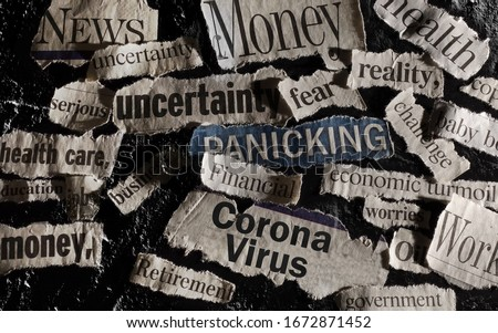 Corona Virus news with assorted related newspaper headlines surrounding it                          Royalty-Free Stock Photo #1672871452
