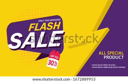 Only Weekend Special Flash Sale banner. Flash Sale discount up to 30% off. Vector illustration. - Vector #1672889953