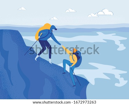 Mountaineering Adventure, Alpinism. Travelling Couple, Family or Friends with Backpacks - Man and Woman Cartoon Characters Climbing Rock. Outdoor Recreation Activity. Flat Vector Illustration.