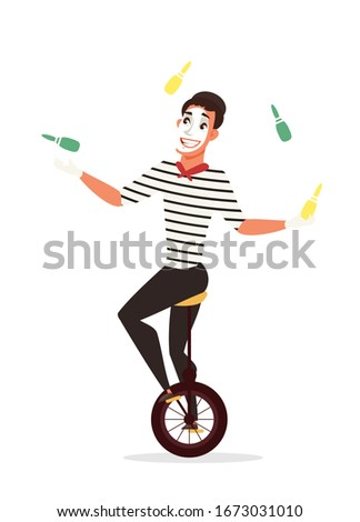 Circus juggler illustration. Mime artist riding unicycle cartoon character. Actor juggling with clubs. Amusement, entertainment industry. Cirque show performance isolated design element. Raster copy