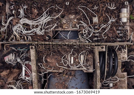 Broken old vintage electronic device with white wires and capacitors, bombarded with fir needles. #1673069419