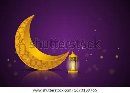 Ramadan Kareem greeting concept. The crescent moon with burning candle at night. Vector illustration design. #1673139766