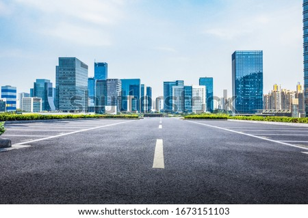 Street side view in city Royalty-Free Stock Photo #1673151103