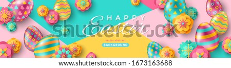Easter horizontal banner with ornate eggs and paper cut flowers on geometric background. Vector illustration. Place for your text. Greeting card trendy design or invitation template #1673163688