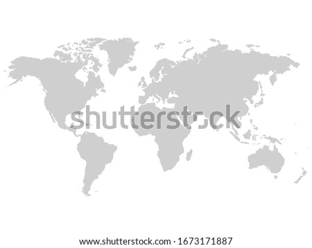 Gray vector world map, Earth illustration isolated on white background.