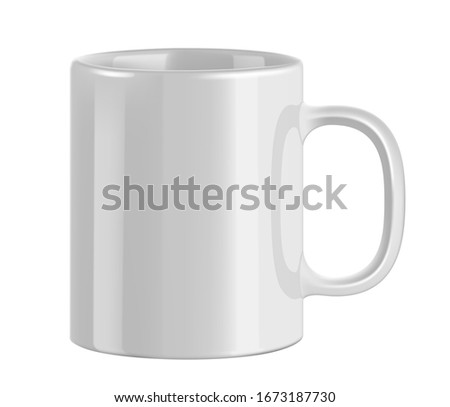 White ceramic mug. Cup on transparent background. Realistic style. 3D style.  #1673187730