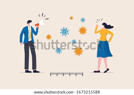 Social distancing, keep distance in public society people to protect from COVID-19 coronavirus outbreak spreading concept, businessman and woman keep distance away in the meeting with virus pathogens #1673215588
