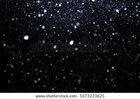 beautiful flying heavy snow on a black background of the night sky #1673223625