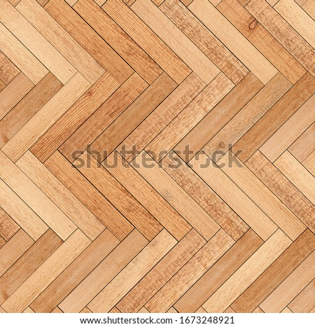 Wood texture for background. Seamless wooden floor with herringbone pattern made of thin planks.
