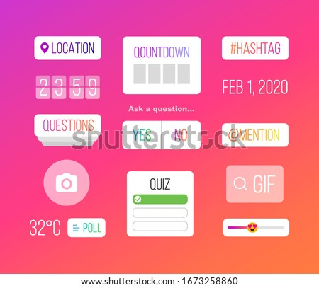 Set of icons on brightly colored psychedelic background graduating from orange through purple magenta with date, hashtag, countdown, poll, quiz, mention, questions and Gif, vector illustration #1673258860