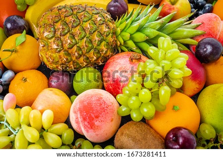 composition with a lot of differrent fruits. exotic fruits #1673281411