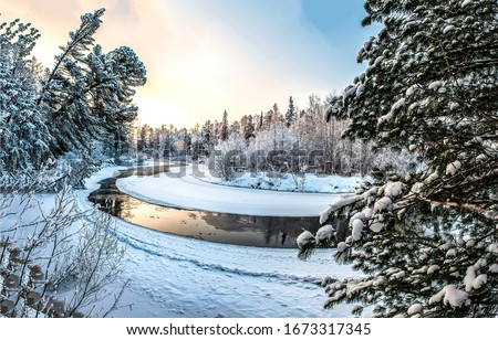 Winter snow forest river landscape. Sunset winter forest river view. Winter snow forest river. Winter forest river snow #1673317345