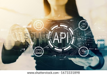 API - application programming interface concept API concept with businesswoman on a city background