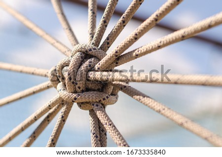 many ropes and one big knot black and white abstract background close up Royalty-Free Stock Photo #1673335840
