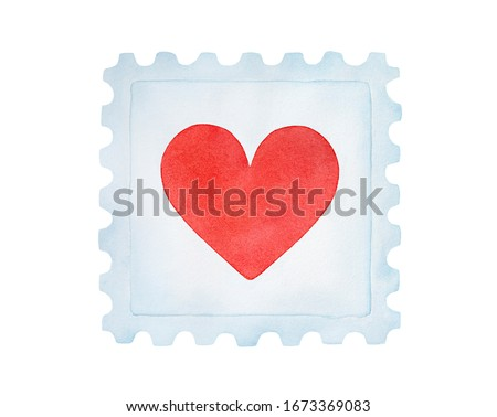 Watercolour illustration of beautiful postage stamp with little red love heart. Symbol of post office and correspondence. Hand painted water color sketchy drawing, cutout clip art element for design.