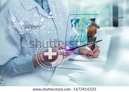 Double exposure of healthcare And Medicine concept. Doctor hands using  modern virtual screen interface icon. #1673416333