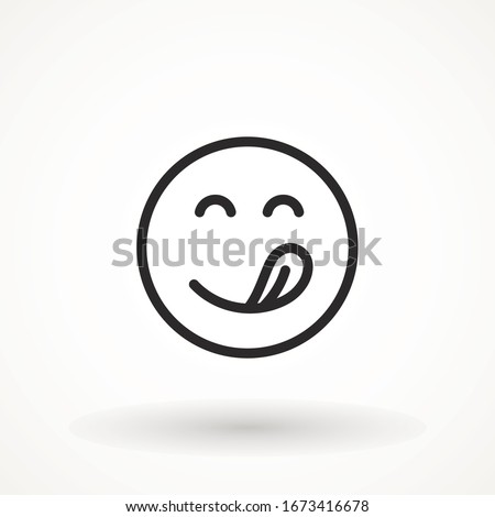 Yummy smile emoticon with tongue lick mouth icon. Tasty food eating emoji face. Delicious cartoon with saliva drops on white background. Smile face line design. Savory gourmet. Yummy vector #1673416678