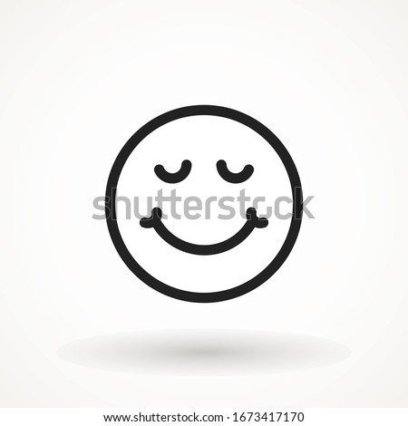 Yummy smile emoticon icon lick mouth. Editable strok Tasty food eating emoji face. Delicious cartoon on white background. Smile face line design. Savory gourmet. Yummy vector icon #1673417170