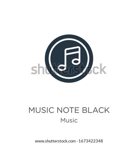 Music note black icon vector. Trendy flat music note black icon from music collection isolated on white background. Vector illustration can be used for web and mobile graphic design, logo, eps10 #1673422348