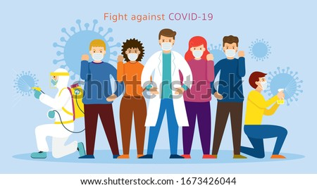 People and Doctor wearing Face Mask Fight Against Covid-19, Coronavirus Disease, Health Care and Safety Royalty-Free Stock Photo #1673426044