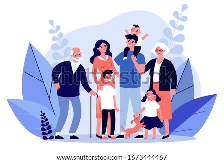 Happy big family standing together flat vector illustration. Grandma, grandpa, mom, dad, children, and pet. Smiling cartoon characters gathering in group. #1673444467