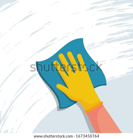 Cleaning napkin in the hands of a houseworker. Cleaning window. Wipe with a cloth, blue microfiber, yellow gloves. Housekeeping service. Vector illustration flat design. The concept of disinfection. #1673450764