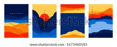 Mountains and sea poster. Abstract geometric landscape banners with minimalist shapes and curved lines. Vector geometry scenes with mountains hills sea for traditional asian background design Royalty-Free Stock Photo #1673460583