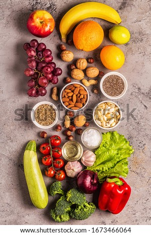 A set of products for vegetarian and vegan cooking, top view. #1673466064