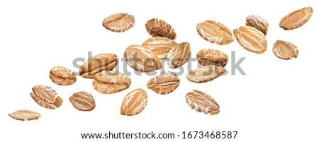 Falling oat rye flakes isolated on white background with clipping path, oatmeal close up #1673468587