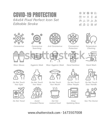 Simple Set of Covid-19 Protection Line Outline Icons. such Icons as Mask, Gloves, Coronavirus Prevention, Hygienic, Avoid Close Contact, Social Distancing etc. 64x64 Pixel Perfect. Editable Stroke. #1673507008