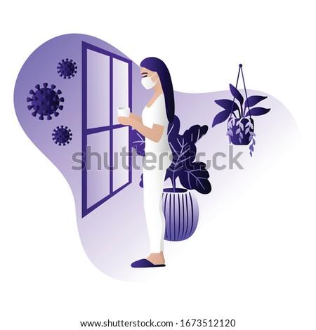 Corona virus - staying at home (self-isolation). Home Quarantine illustration. Corona virus self-quarantine. Isolation period at home. Self-isolation shield from coronavirus. Vector. Royalty-Free Stock Photo #1673512120