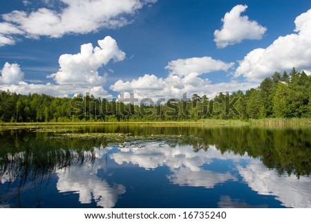 summer scene at lake Suur Kalajarv, Estonia #16735240