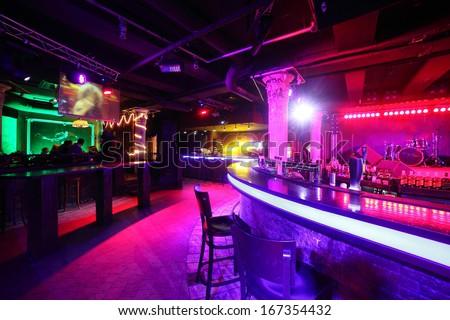 european stylish night club with bright lights Royalty-Free Stock Photo #167354432