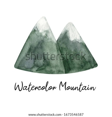 Adorable hand painted watercolor mountain and trees clip art. Isolated on white background drawing for textile prints, child poster, cute stationery, travel design. High quality landscape.
