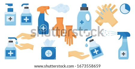 Disinfection. Hand hygiene. Set of hand sanitizer bottles, washing gel, spray, wet wipes, liquid soap, rubber gloves, napkins. PPE personal protective equipment. Vector illustration #1673558659