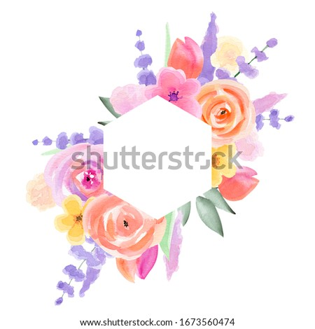 Watercolor Floral Wedding Frame Wedding Arrangemets. Floral Clipart. Hand-painted Pink, purple tender Flower invitation card. Floral Spring Frames. Romantic Bouquets. Cute Easter. DIY