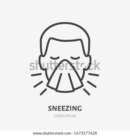 Sneezing man line icon, vector pictogram of flu or cold symptom. Man covering cough with napkin illustration, sign for medical poster. #1673577628