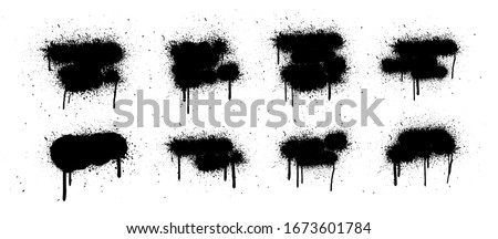 Vector spray graffiti stencil template with splashes and drips of paint on a white background. Grunge graffiti spray effect, exploding, black drops. Isolated street art and text box template. Vector  #1673601784
