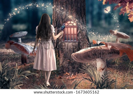 Girl in dress with bird in hand in fantasy enchanted fairy tale forest with giant mushrooms, magical shining window in pine tree hollow and flying magic butterfly leaving path with luminous sparkles #1673605162