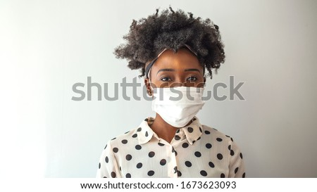 Stop the virus and epidemic diseases. Healthy woman in blue medical protective mask. Health protection and prevention during flu and infectious outbreak. #1673623093