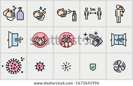 Vector editable stroke line icons with practical tips for the prevention of COVID19 corona virus contamination Royalty-Free Stock Photo #1673641996