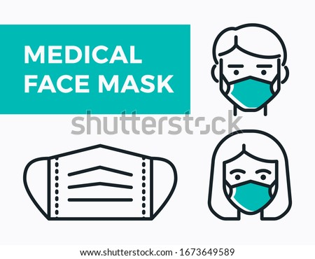 Medical Face Mask icons. Simple thin line signs with people wearing protection masks.  #1673649589
