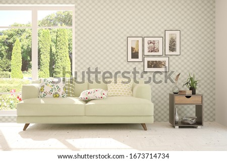 White living room with sofa and summer landscape in window. Scandinavian interior design. 3D illustration #1673714734