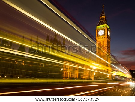 Big Ben light trail at dusk