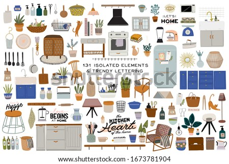 Stylish Scandinavian kitchen interior - stove, table, kitchen utensils, fridge, home decorations. Cozy modern comfy apartment furnished in Hygge style. Vector illustration #1673781904
