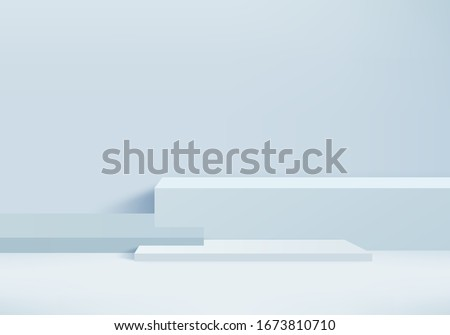 Background vector 3d blue rendering with podium and minimal blue wall scene, minimal abstract background 3d rendering abstract geometric shape blue pastel color. Stage for awards on website in modern. #1673810710
