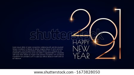 Happy new 2021 year! Elegant gold text with light. Minimalistic text template. #1673828050