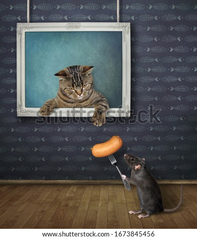 The beige cat is coming out from the picture hanging on the wall of the art gallery. A black rat gives him a sausage on a fork.